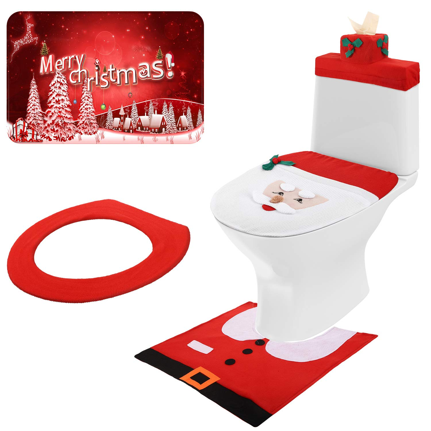 Buy Mudder 3d Nose Santa Toilet Seat Cover Set Christmas Toilet Cover Decorations Xmas Bathroom Decorations For Christmas Holiday Home Decor 5 Pieces Totally Online At Low Prices In India Amazon In