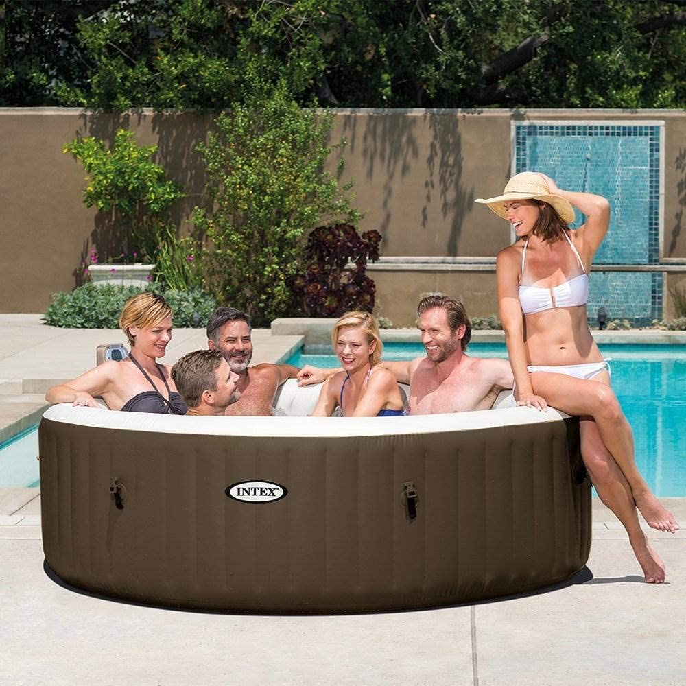 Intex PureSpa 85 Inch Bubble Jet Massage 6 Person Outdoor Inflatable Round Hot Tub Spa with Easy-to-Use Control Panel, Brown