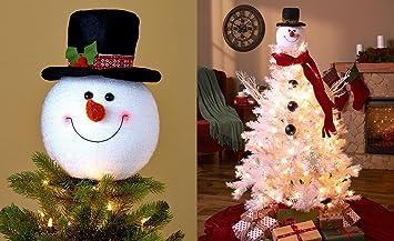 Amazon.com: Frosty Snowman Top Hat Christmas Tree Topper Decor ...
