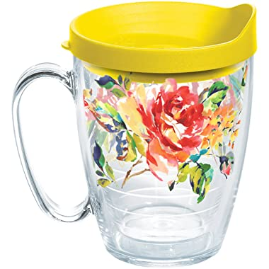 Tervis 1245526 Fiesta - Floral Bouquet Insulated Tumbler with Wrap and Yellow Lid 16 oz Mug - Tritan Clear