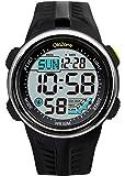 Digital Sports Watch Water Resistant 60 Lap 3 Alarm Stopwatch Dual Time Black Men's Watch