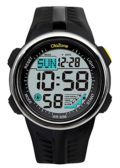 a11c74d63 Amazon.com  Digital Sports Watch Water Resistant 60 Lap 3 Alarm Stopwatch  Dual Time Black Men s Watch  Watches
