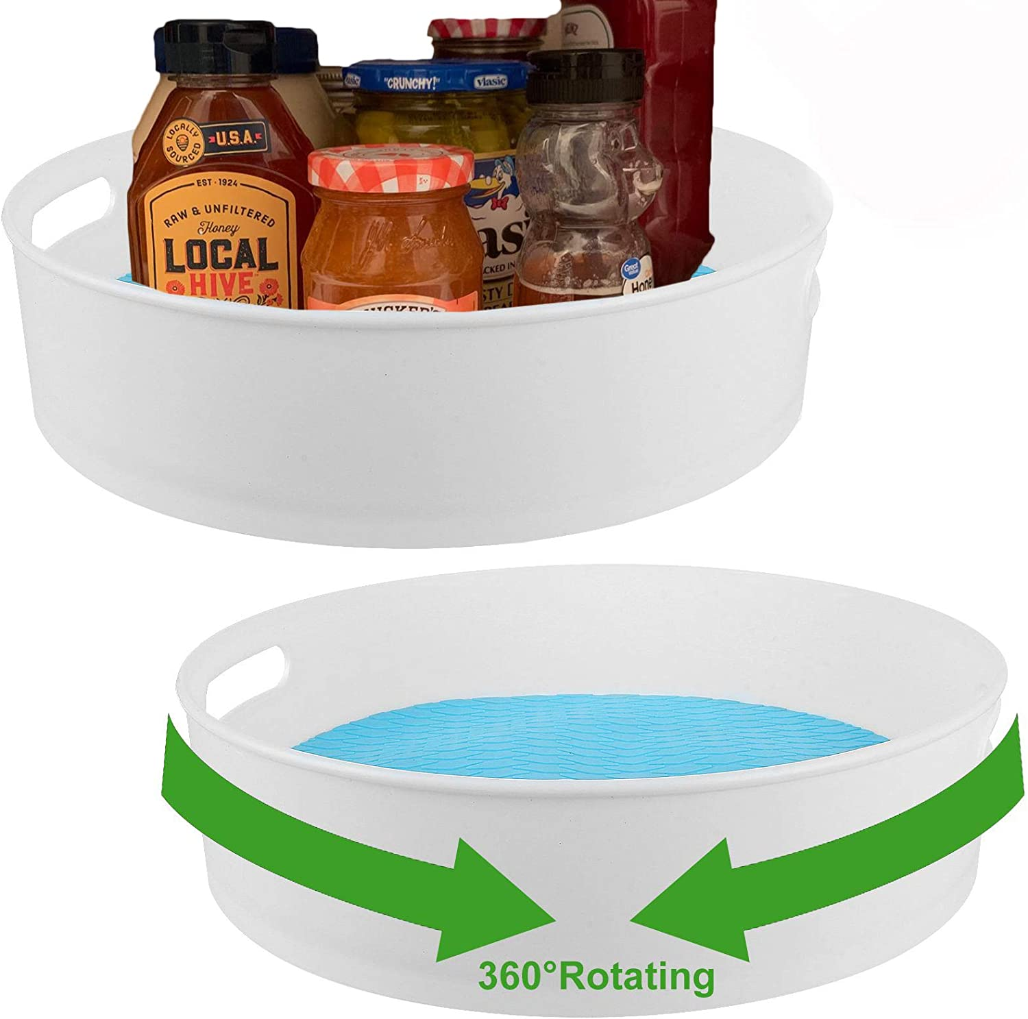"2 Pack Plastic Lazy Susan Kitchen Organizer with Handle, 12"" Turntable Cabinet Food Storage Bin, Turntable Storage Organizer for Pantry, Cabinet, Dresser, Refrigerator, White Rotating Cosmetic Tray"