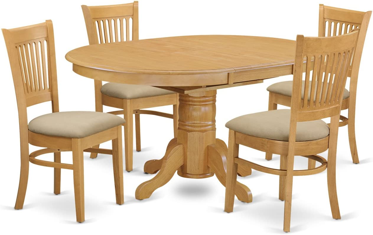 AVVA5-OAK-C 5 Pc Dining set-Table and 4 Dinette Chairs.