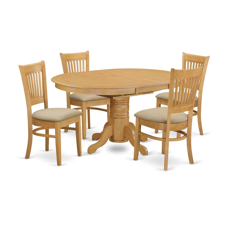 East West Furniture AVVA5-OAK-C 5-Piece Dining Table Set