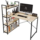 Nost & Host 46 Inch Small L Shaped Desk with Shelves, Corner Desk for Small Space with 4 Tier Storage Bookshelf, Vanity Makeu