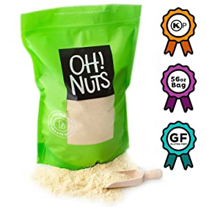 Oh! Nuts Blanched Almond Flour Kosher for Passover | Gluten-Free Extra Fine Baking Delights | Bulk 56oz All-Natural Wheat Substitute Finely Ground Meal | Dried Food Pantry Items for Keto & Vegan Diets