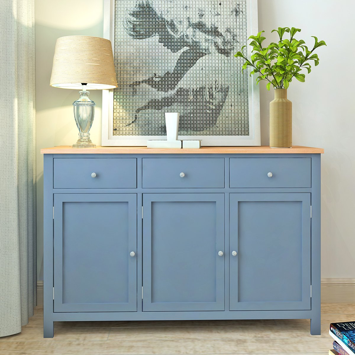Britoniture Oak Sideboard Painted Grey Large Wooden Storage Cabinet ...