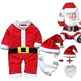 ARAUS Traje Navidad Santa Unisexo Beb¨¦ Disfraz Navidad Traje Pantalones 3/4 + Sombrero + Barba (se puede utilizar como un babero para bebe comer)
