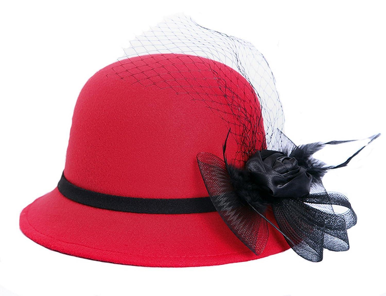 Licus Women Wool Felt Church Cloche Cap Bucket Bowler Hat Cap w/Flower Band