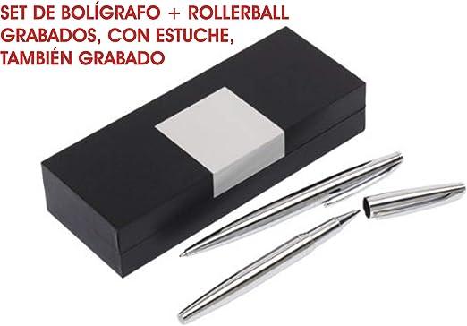 Set de Bolígrafo + rollerball GRABADOS testigos boda PERSONALIZADO para regalo estuches de escritura: Amazon.es: Hogar