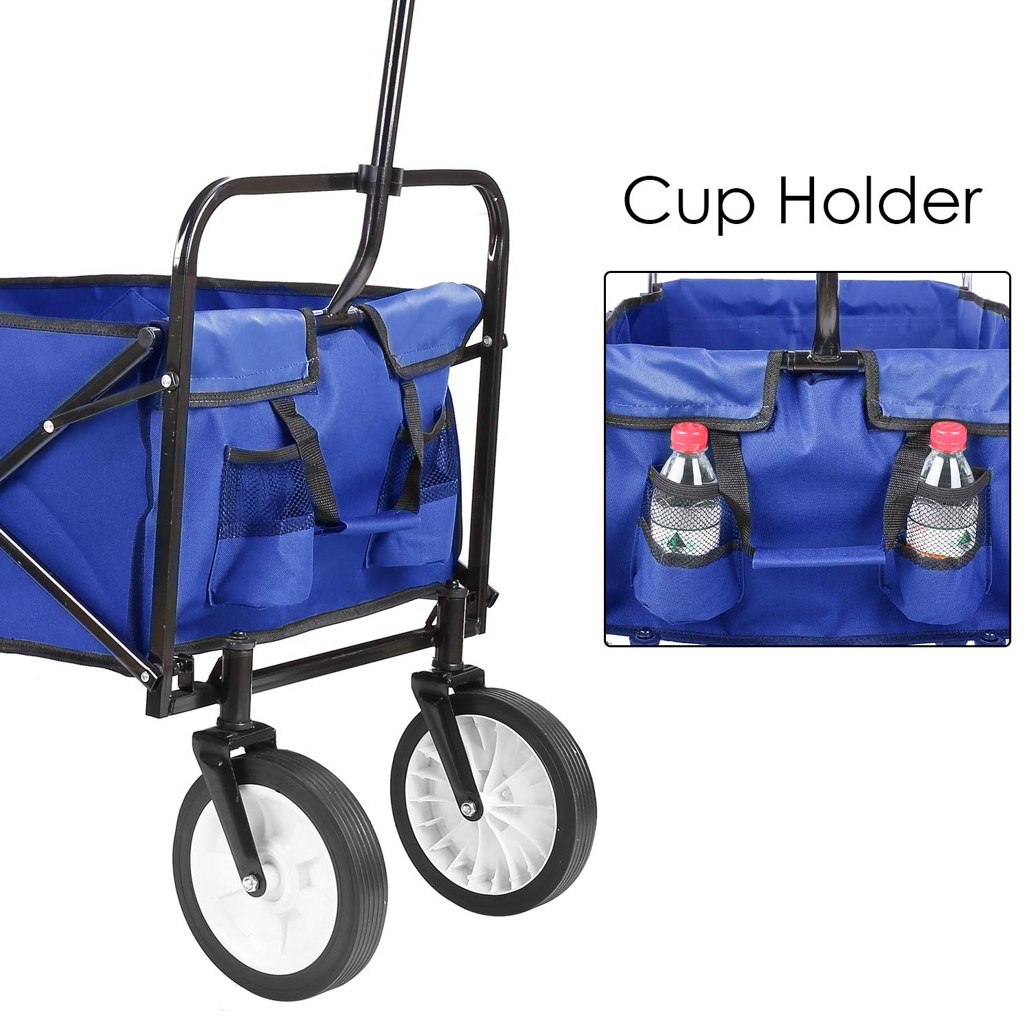 Collapsible Outdoor Utility Wagon, Heavy Duty Folding Garden Portable Hand Cart, with 8'' Rubber Wheels and Drink Holder, Suit for Shopping and Park Picnic, Beach Trip and Camping (Blue) by HEMBOR (Image #4)