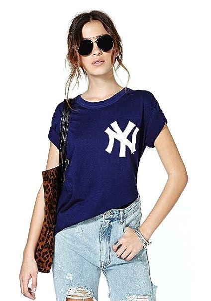 Minetom mujer Casual Manga corta (Shirt Tops Blusa Camisetas béisbol Tee One Color 34