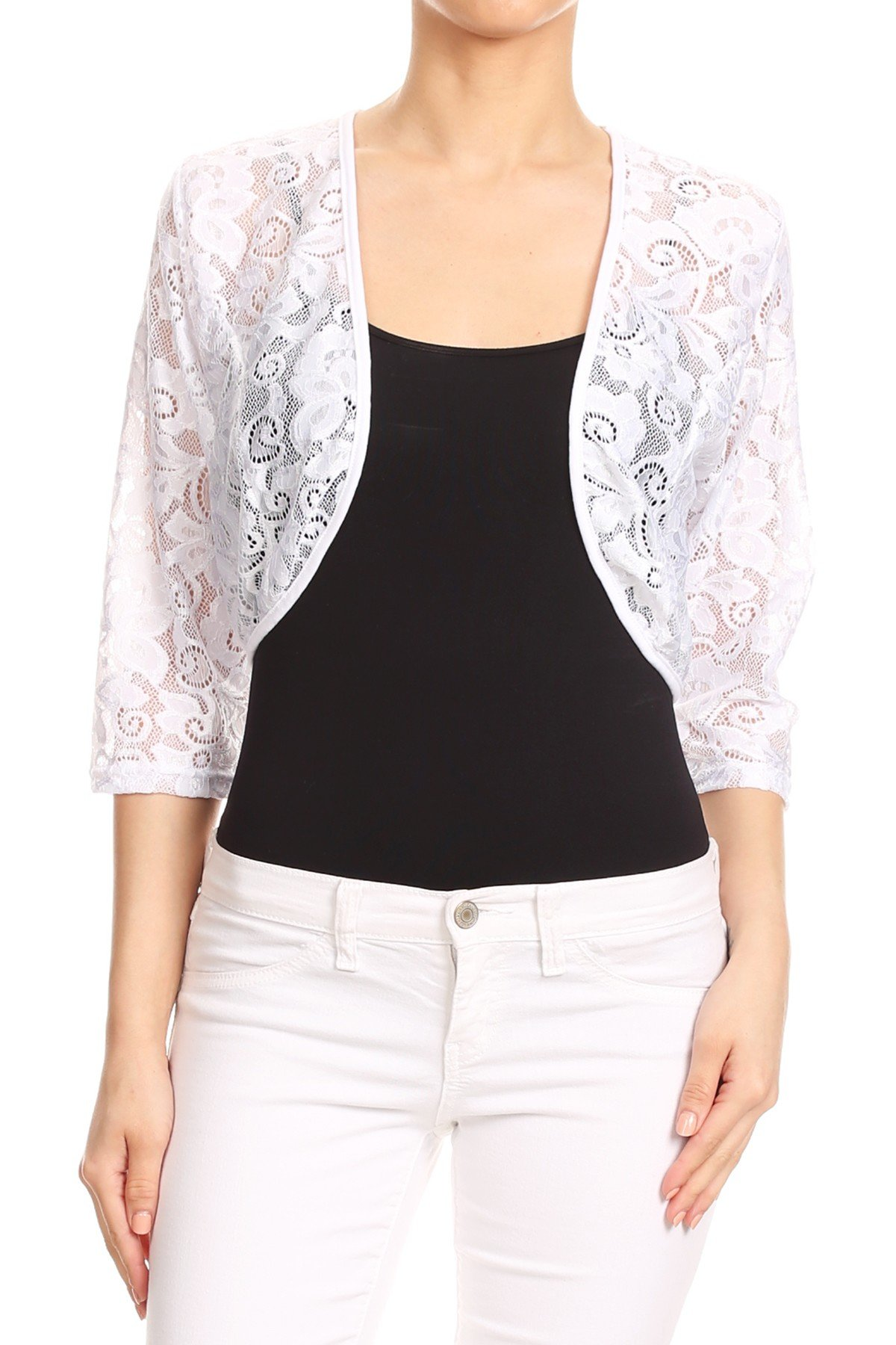 First Spring Women's Regular Plus Size Sheer Lace Shrug Cardigan Bolero. Made in USA. (1XL, White-FL)