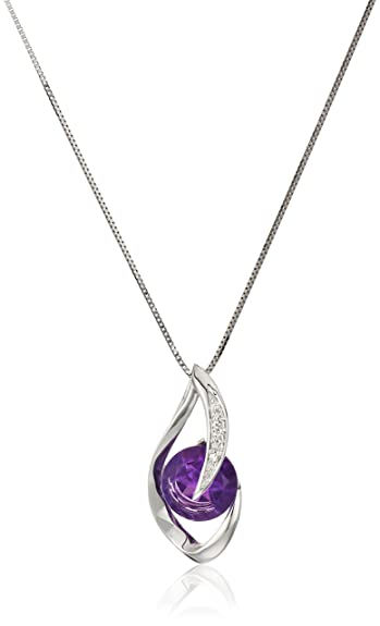 Amazon 10k white gold amethyst and diamond accent flame pendant 10k white gold amethyst and diamond accent flame pendant necklace 18quot mozeypictures Gallery