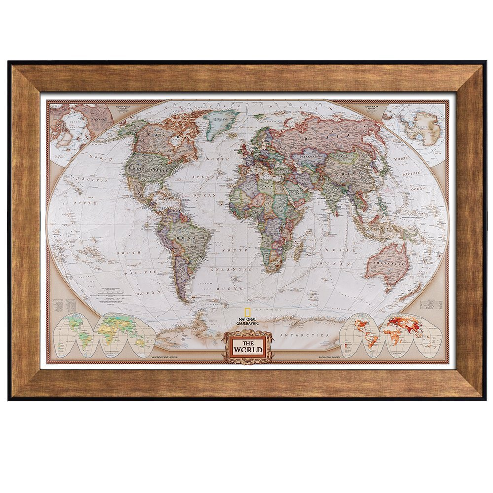 Colorful National Geographic Antique World Map Framed Art Prints 24x36 inc