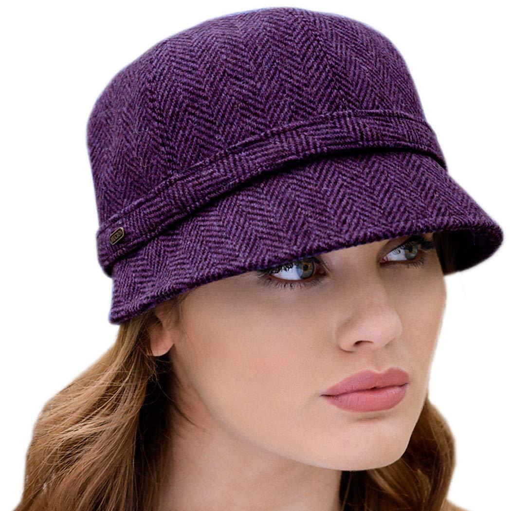 Irish Tweed Flapper Hat for Women, Purple, One Size Fits All