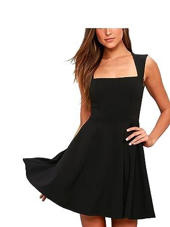 04286b56dd871 Sizzling Summer Solid Color Slim Sleeveless Skirt Dress at Amazon ...