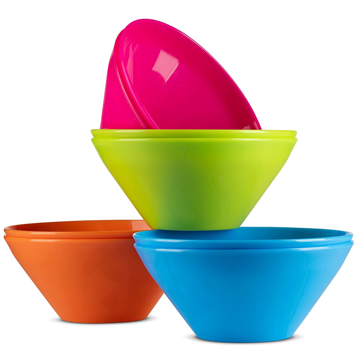 Kids Plastic Bowls By Plaskidy - Kids Bowl Set includes 8 Small Plastic Bowls 15 OZ Microwave/Dishwasher Safe, BPA Free, 4 Bright Colors, Great for Baby/Toddler Soup Bowls, Cereal Bowls, Snack Bowls.