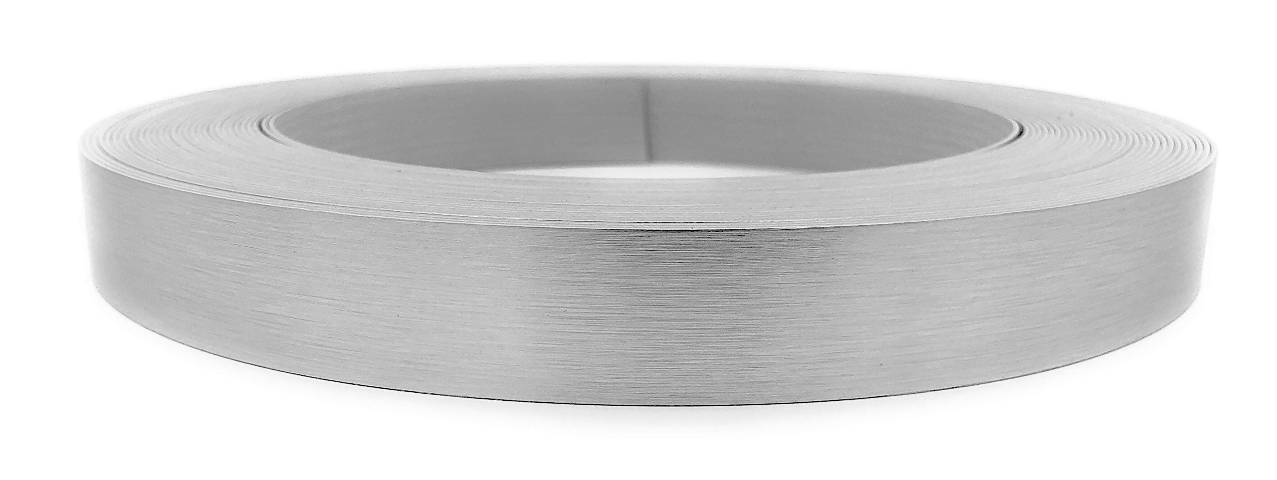 Brushed Aluminum Stainless Steel 7/8'' X 50' X 1mm Thickness Edgebanding Automatic Roll - Non Glued - Made in USA.