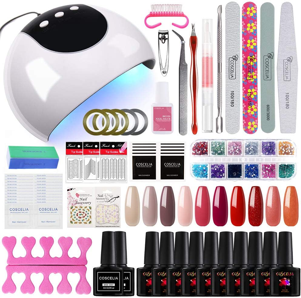 Coscelia Lámpara UV/LED 24W Secador de Uñas 10PCS Esmalte en Gel Semi-permanente Top coat Base coat Manicura Kit