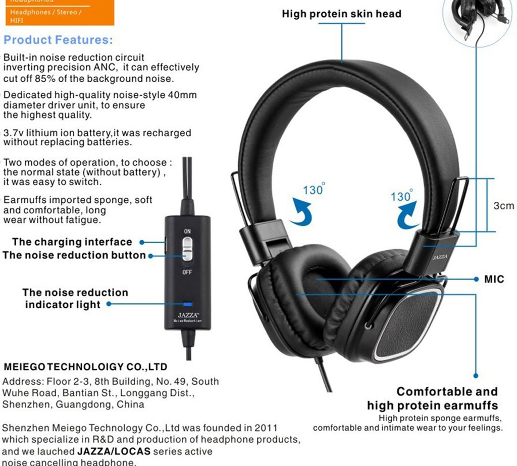 Jazza Anc J3 Foldable Stereo Active Noise Cancelling Reduction Circuit Electronics
