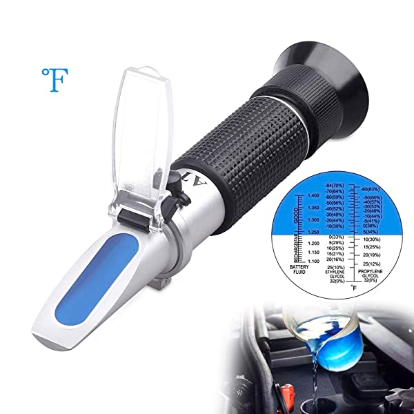 Antifreeze Refractometer - 3-in-1 coolant Tester for Checking Freezing Point, Concentration of Ethylene Glycol or Propylene Glycol Based Automobile Antifreeze Coolant and Battery Acid Condition (Color: Black)