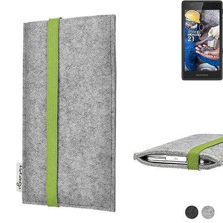 flat.design Handy Hülle Coimbra für Fairphone Fairphone 2 maßgefertigte Handytasche Filz Tasche fair grün hellgrau