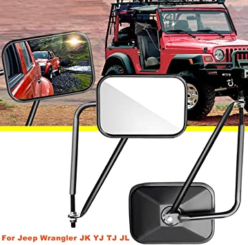 Black Adventure Mirrors Door Hinge Mirror Off-Road Rectangular For All Jeep