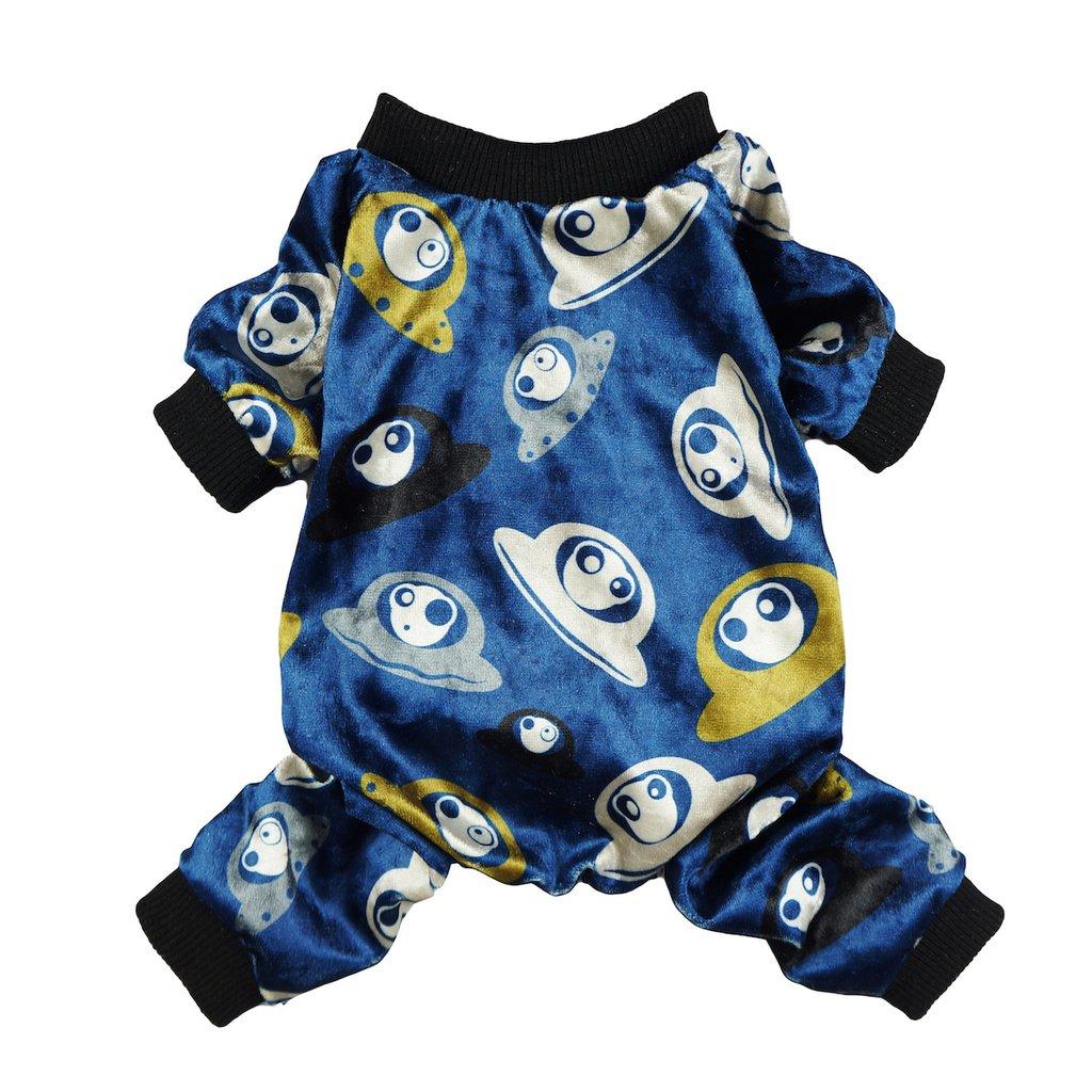 Fitwarm UFO Alien Pet Clothes for Dog Pajamas PJS Jumpsuit Soft Velvet Navy Blue Small