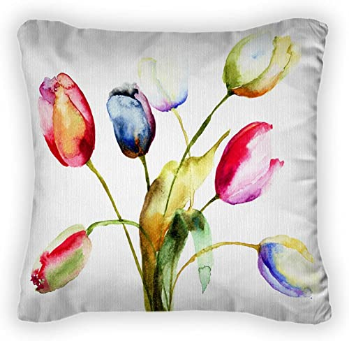 Gear New Watercolor Painting of Tulips Flowers Throw Pillow, Poplin, 14×14, GN8585