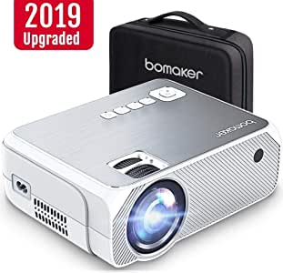 Bomaker Mini Projector, Upgraded 4000 Lux with 50,000 Hrs, 1080P and 250 Display Supported Portable HD LED Projector, Compatible with TV Stick, PS4, ...