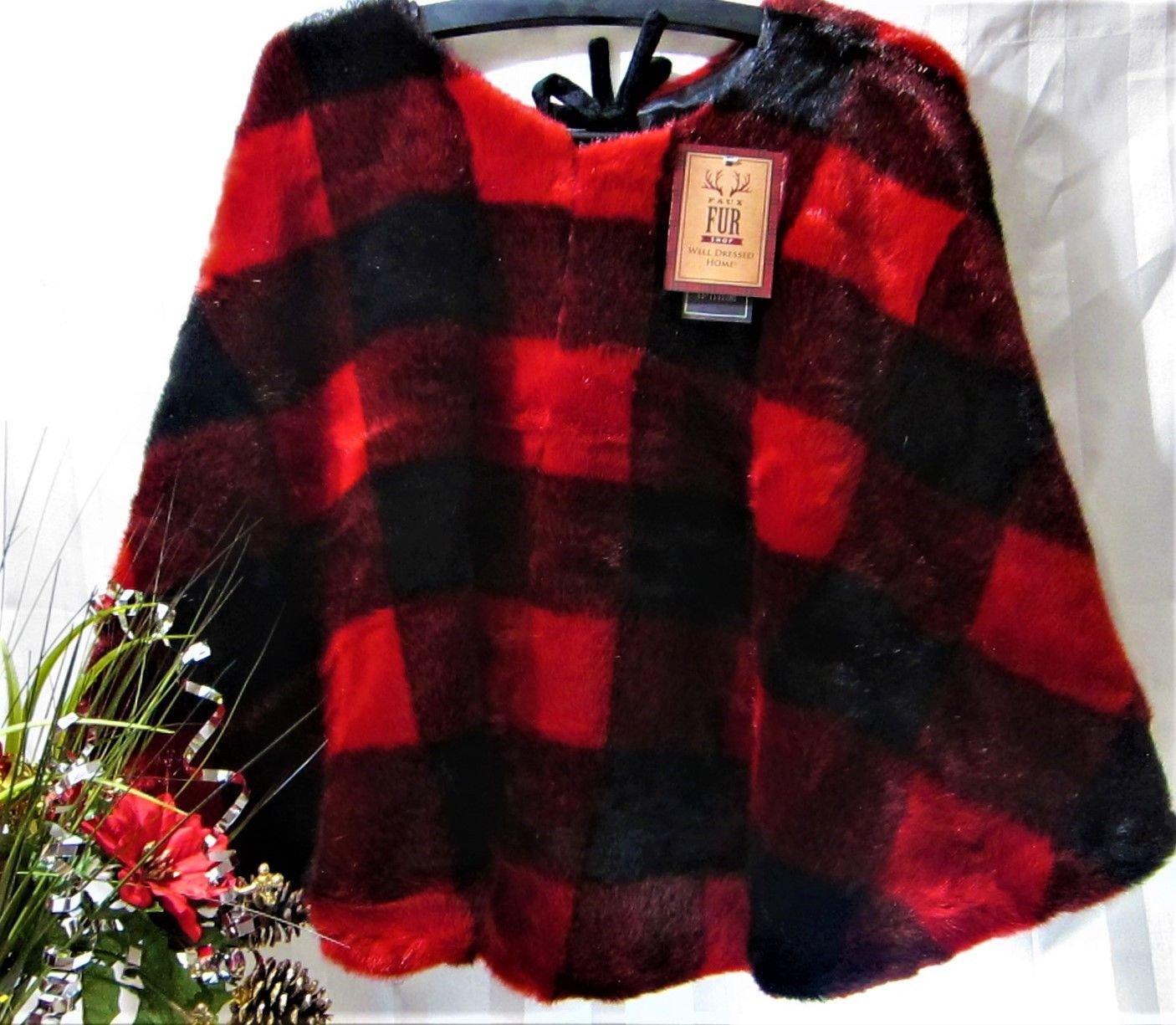 Well Dressed Home Luxury Plush Buffalo Checker Plaid Lodge Red & Black Faux Fur 52'' Christmas Tree Skirt