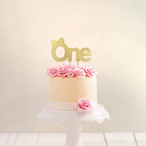 Amazon.com: 1st Birthday Cake Topper Girl Pink and Gold Birthday ...