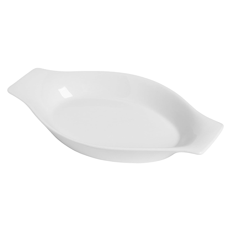 Kitchen Supply White Porcelain Modern Oval Au Gratin, 12.5-Inch 8064