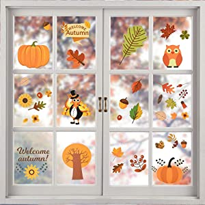 YBB 168 Pcs Thanksgiving Fall Leaves Window Clings, Thanksgiving Decorations Autumn Leaves Turkey Pumpkin Acorns Window Clings Sticker Decal Autumn Harvest Party Decor