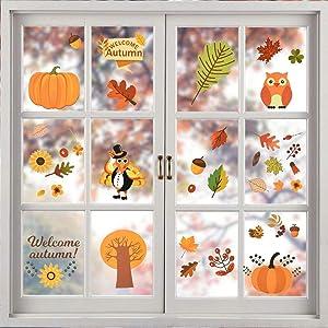 YBB 168 Pcs Thanksgiving Fall Leaves Window Clings, Thanksgiving Decorations Autumn Leaves Turkey Pumpkin Acorns Window Clings Sticker Decal Autumn Harvest Party Decor