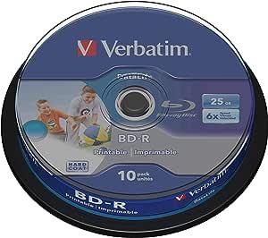 Verbatim BD-R SL Datalife, Blu-Ray-disk 25 GB - 6-voudige brandsnelheid - krasbescherming - 10 stuks spindel