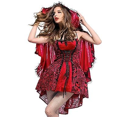 b10fce096 iBaste Gótico Disfraces Mujer para Fiesta de Halloween Caperucita Roja  Lolita Disfraz de Cosplay Club Nocturno Reina Vestido de la Etapa con la  Capa  ...
