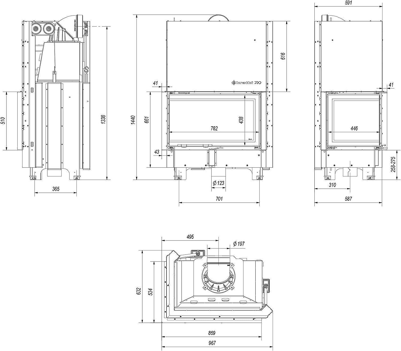 Kratki MBO - Chimenea de esquina (15 kW, para lado izquierdo, con puerta corredera): Amazon.es: Bricolaje y herramientas