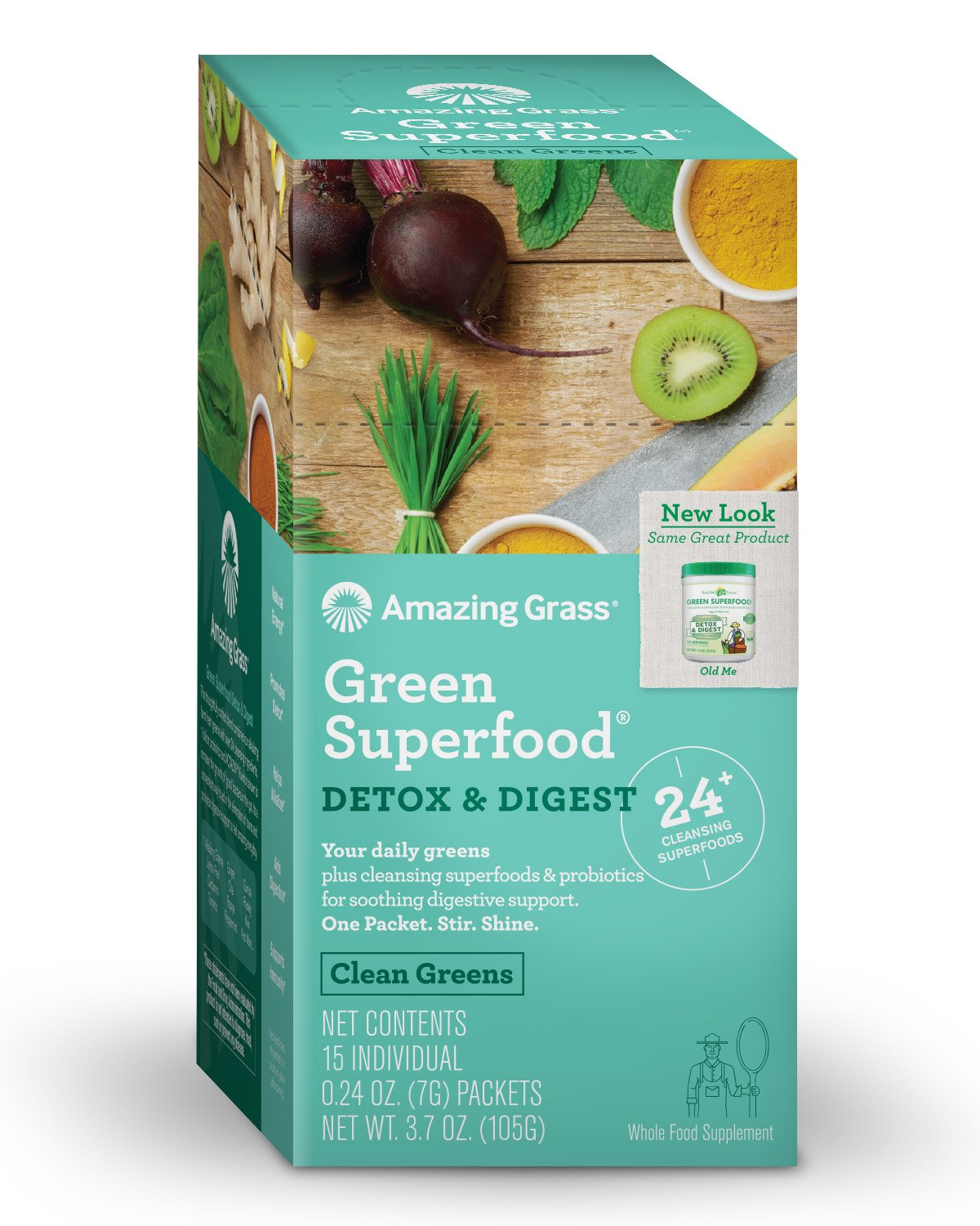 Amazing Grass Green Superfood Detox & Digest Organic Powder with Wheat Grass and Greens, 1 Billion Probiotics, Flavor: Clean Greens, Box of 15 Individual
