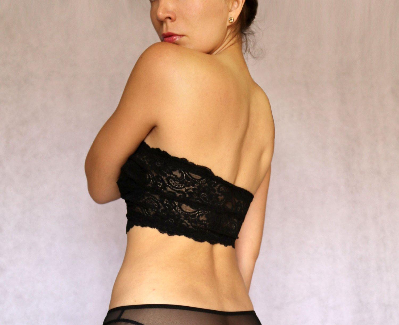 7cc820649ff Amazon.com  Black Lace Bandeau Top with Detachable Halter Strap. Strapless  Bra top. Bralette Lingerie  Handmade