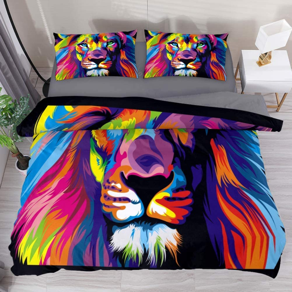 LvShen Colorful Lion Animal Bed Coverlet Duvet Cover Set with 2 Pillow Cases Shams Bedding Sets Extra Long Twin Size 3 Pieces Printed Sheets for Teen Boys Girls