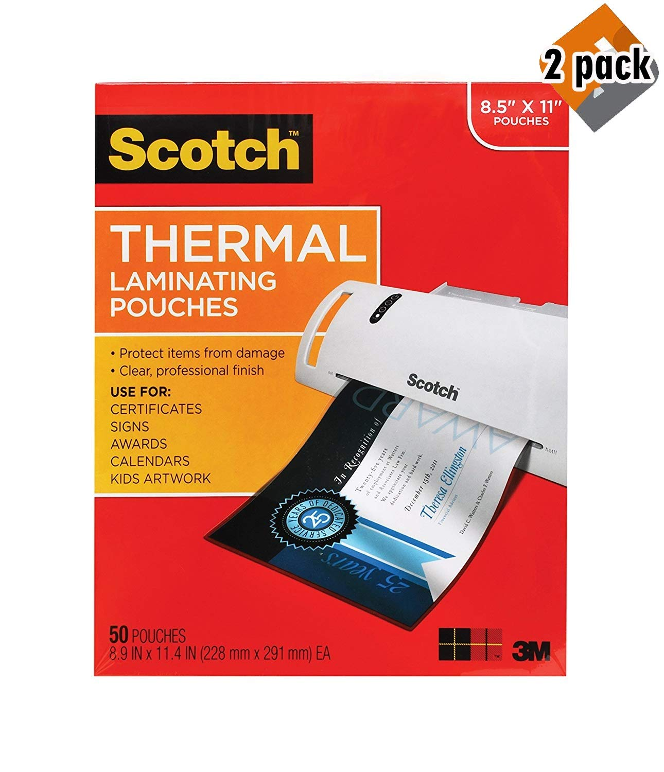 SBTLP Thermal Laminating Pouches, 8.9 x 11.4-Inches, 3 mil Thick, 50-Pack (TP3854-50),Clear (2 Pack) by Scotch Brand