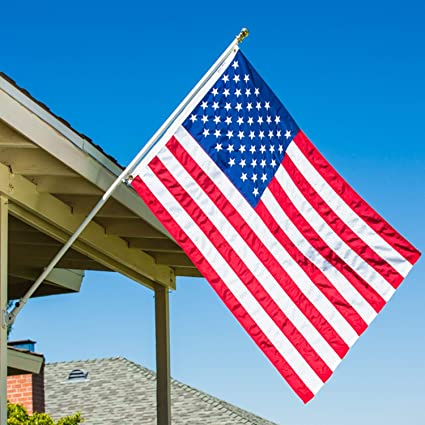 Amazon Com Grace Alley Flag Pole Kit Includes Tangle Free Flagpole Flag Pole Bracket Embroidered American Flag Made In Usa Garden Outdoor