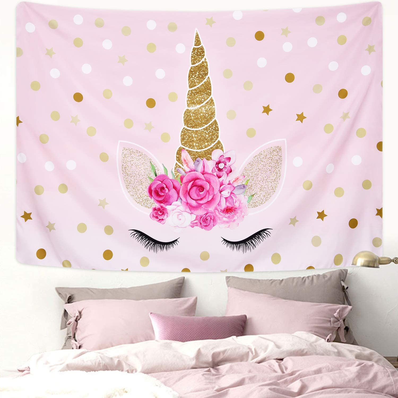 Romeooera-sparking-glitter-rose-Unicorn-tapestry