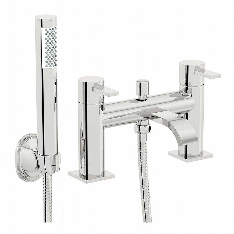 ENKI Modern Curved Bath Filler Mixer Shower Tap Bathroom Chrome Brass Deck Mount SOHO IMDSW083CH/3