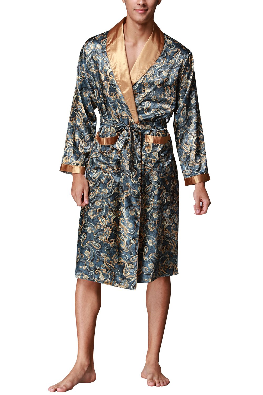 Dolamen Men's Dressing Gown Bathrobe Satin, Silky Soft & Lightweight Luxury Men's Kimono Dressing Gown Bath Robe Bridesmaid Housecoat Nightwear Pyjamas + Belt Pockets
