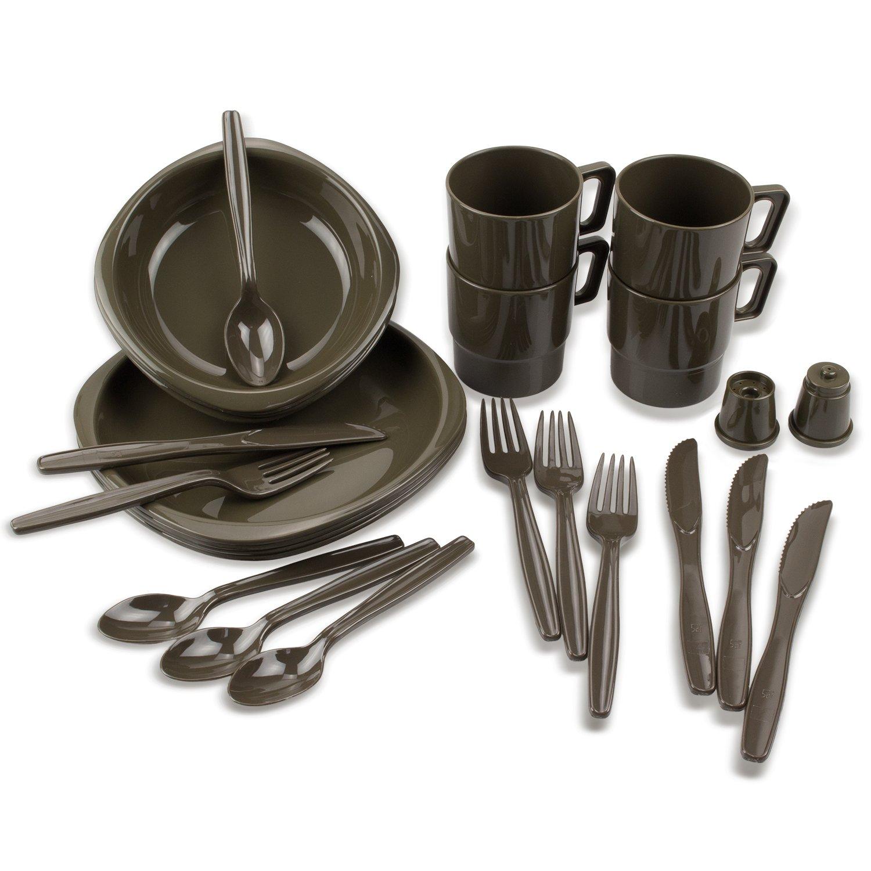 BlackSnake® Juego de vajilla de camping de material irrompible (26 piezas)