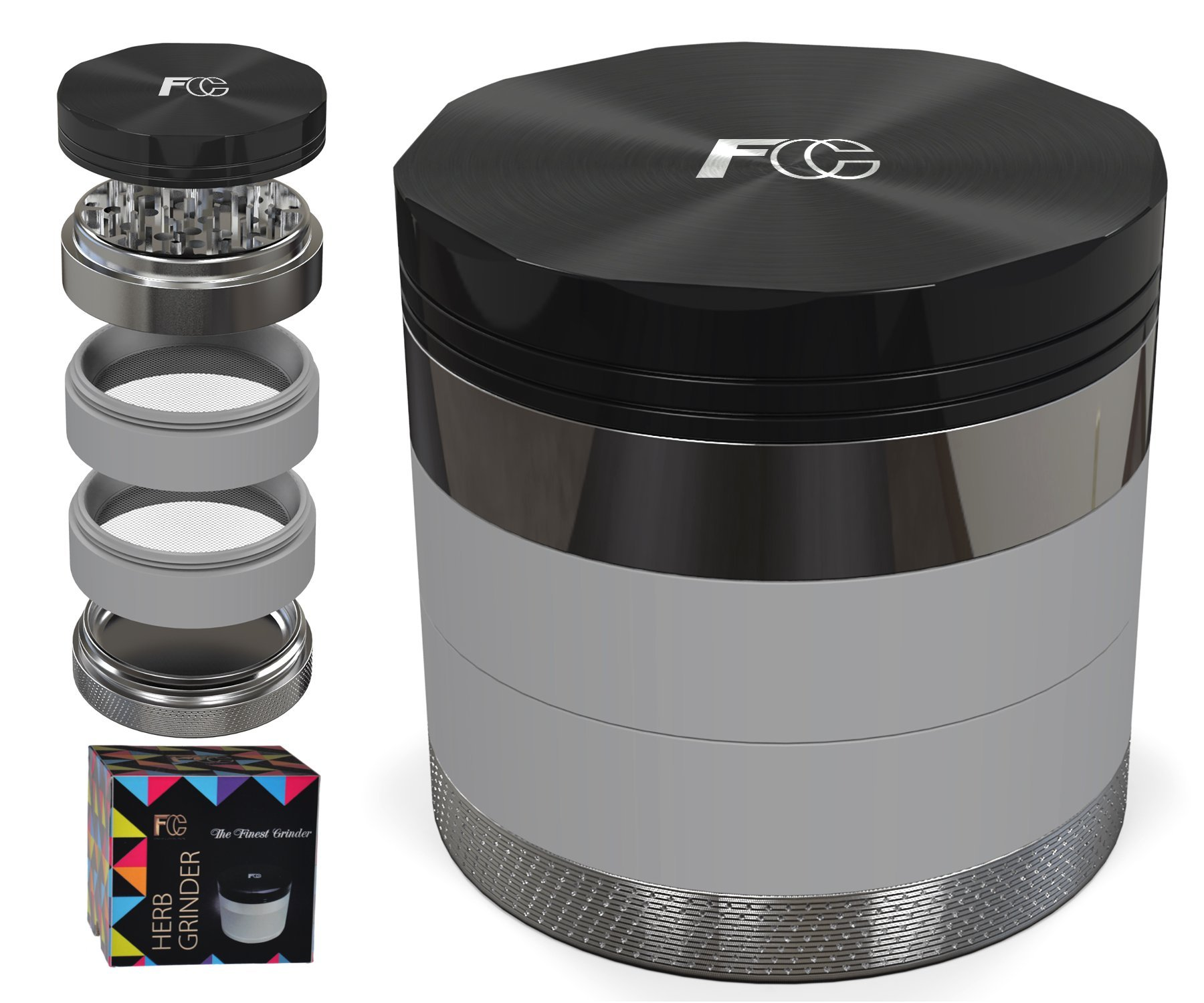 """TOP Premium 5 PIECE Herb Grinder in Stylish Giftbox - Large Unique 2.5"""" Aircraft Aluminum Mill with Diamond Teeth & Pollen Catcher for weed tobacco spices. Luxury Pouch included, Ebook & Scraper"""